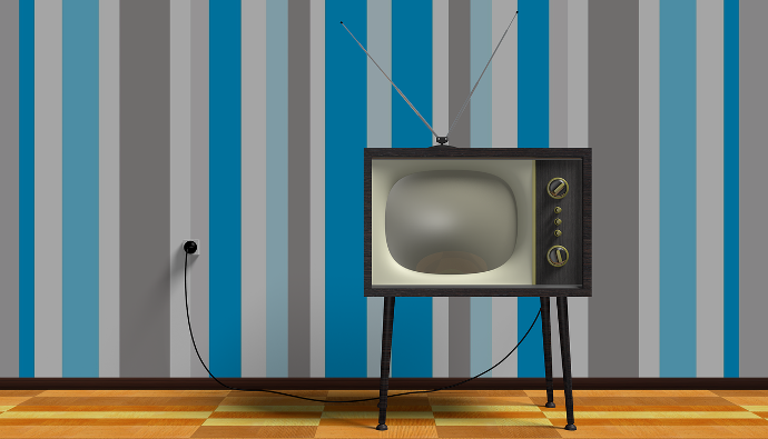 LiDA104 Course Image: Old style TV against wall with virtical striped wall-paper