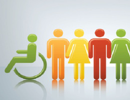 Image showing green icon for accessibility and four coloured icons of men and women holding hands.